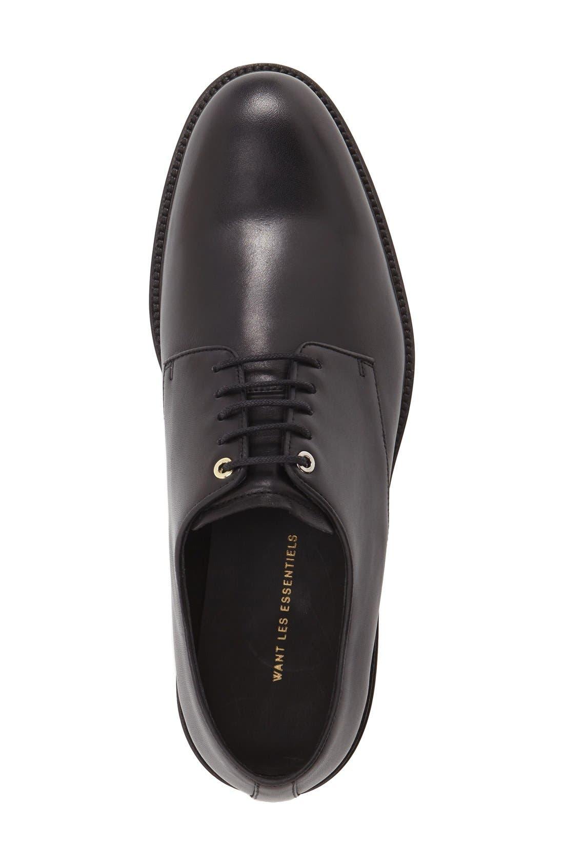 'Benson' Plain Toe Derby,                             Alternate thumbnail 3, color,                             Box Black Leather