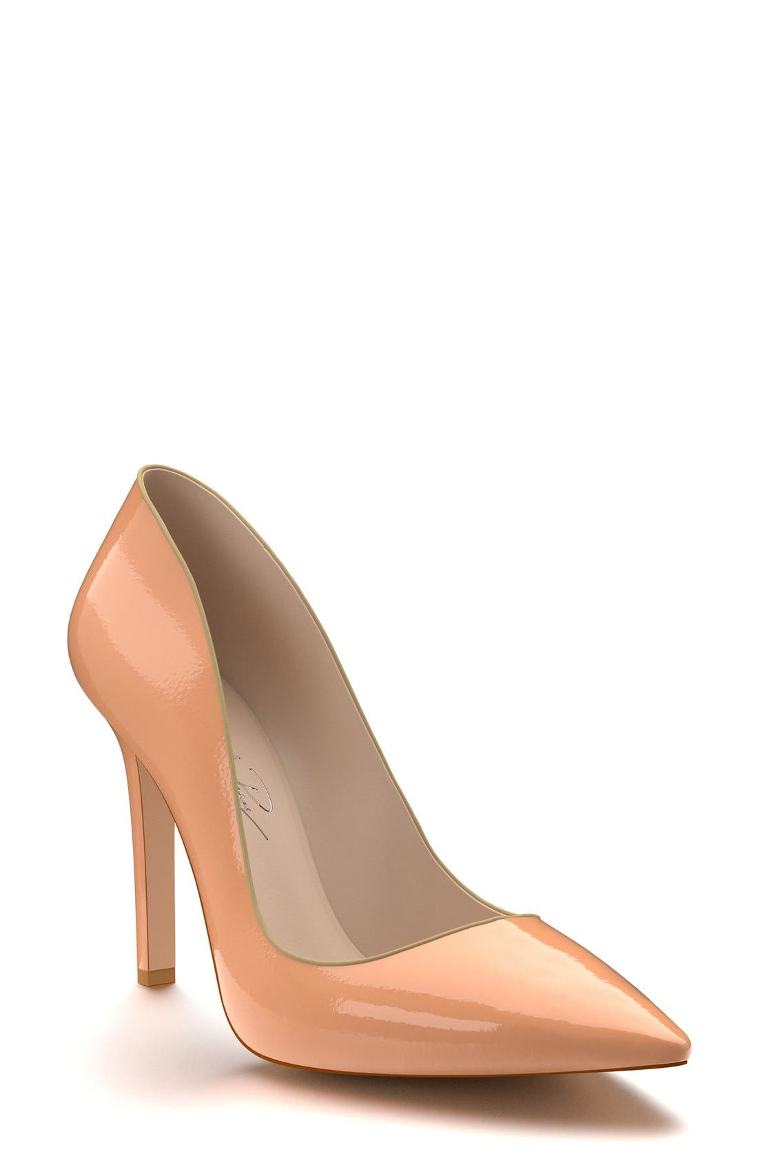 Pointy Toe Pump,                             Main thumbnail 1, color,                             Nude Patent