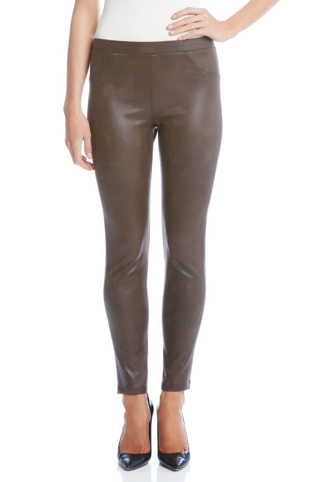 Karen Karen Stretch Faux Leather Skinny Pants,                         Main,                         color, Brown