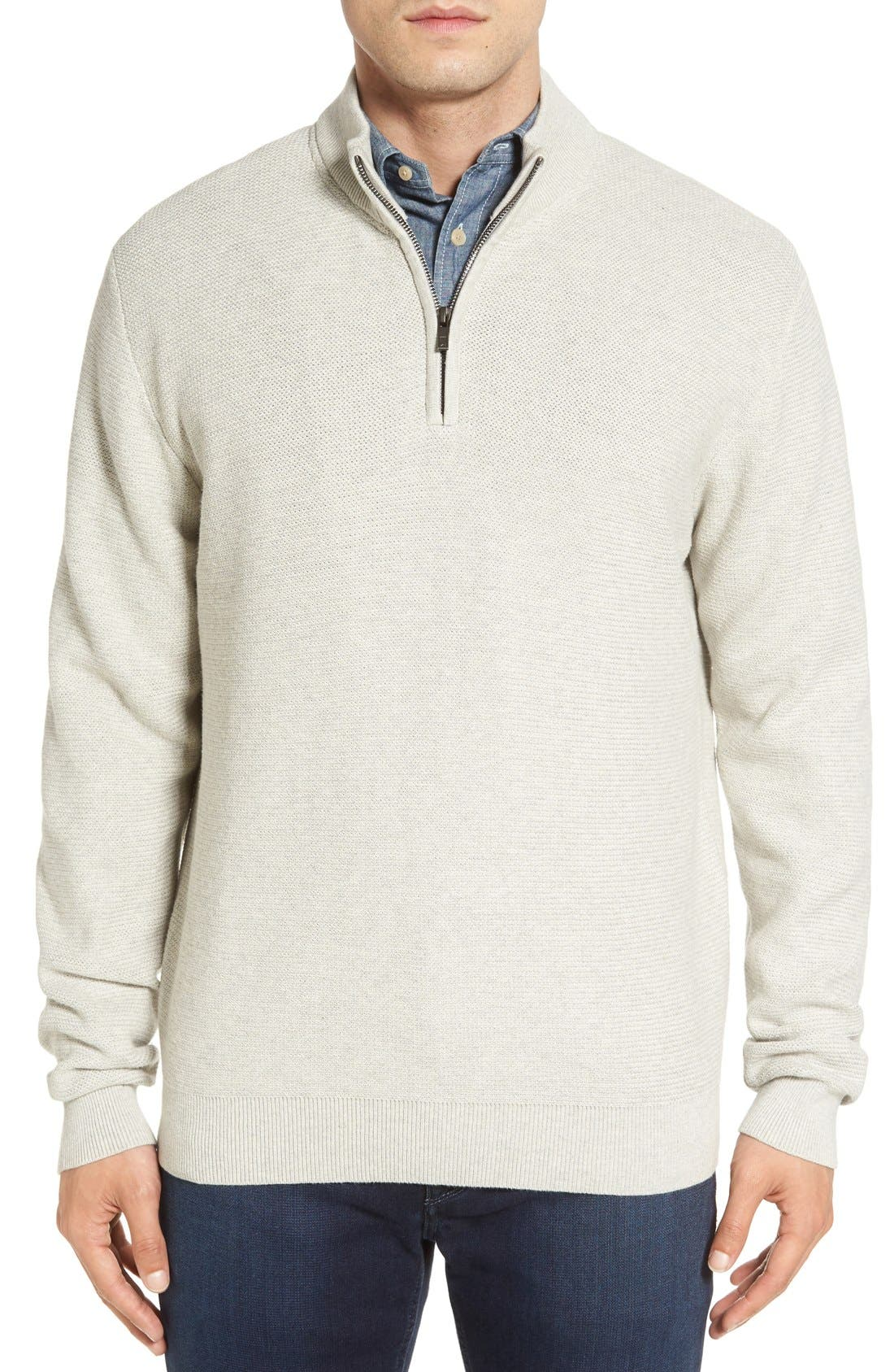 'Benson' Quarter Zip Textured Knit Sweater,                             Main thumbnail 1, color,                             Limestone Heather