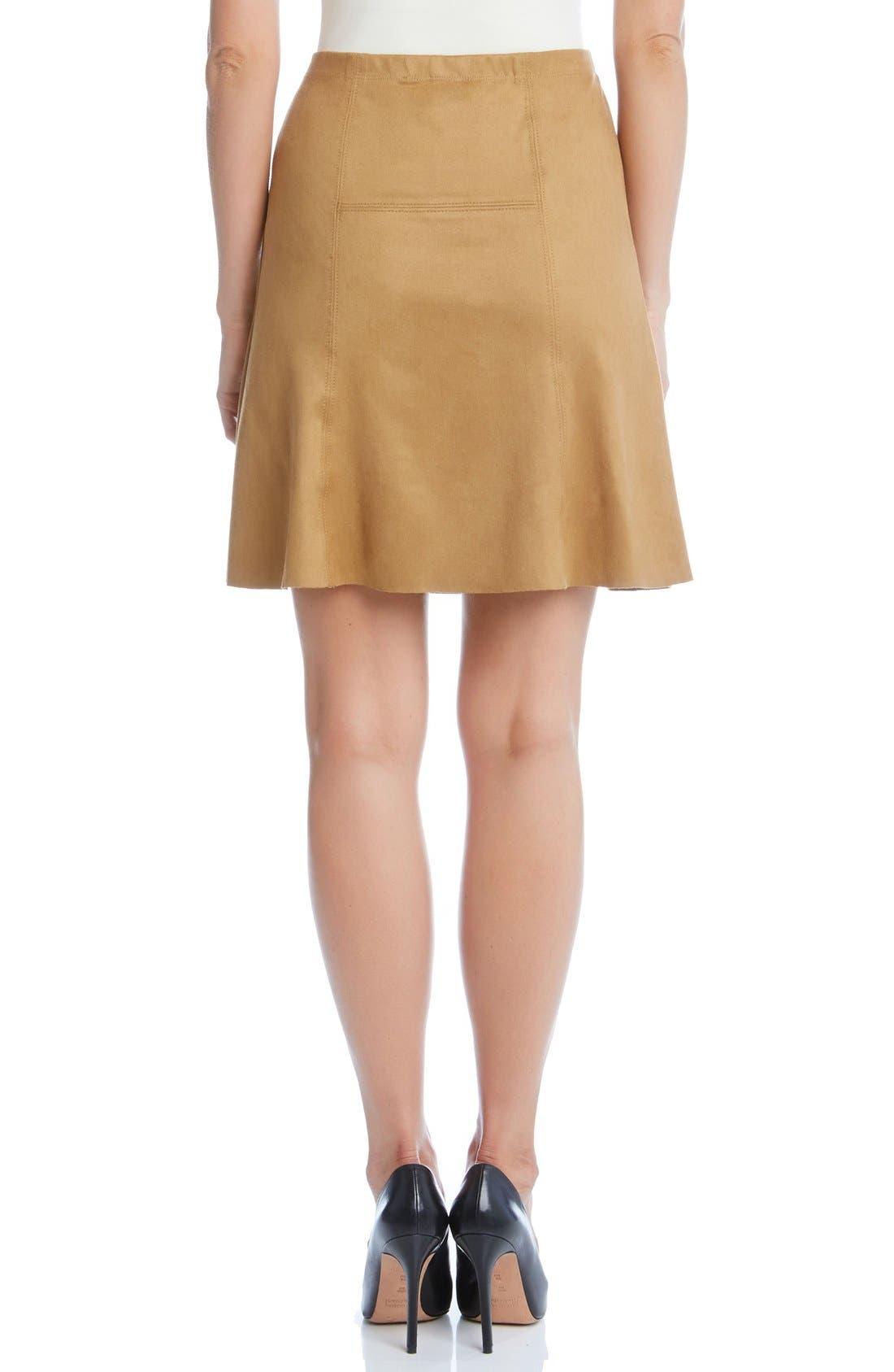 Alternate Image 2  - Karen Kane Flared Faux Suede Knit Skirt
