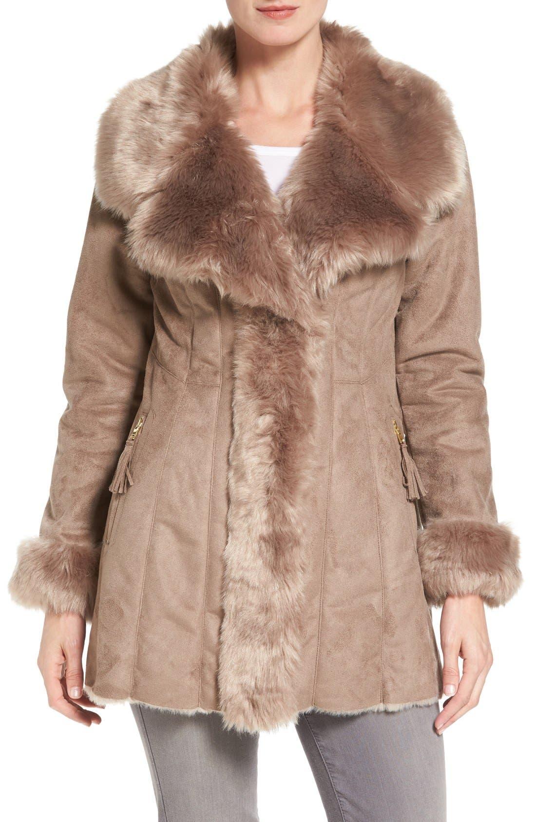Faux Shearling Coat,                         Main,                         color, Mink