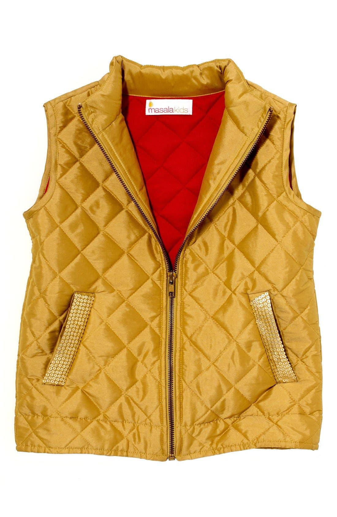 Alternate Image 1 Selected - Masala Baby 'Estelle' Quilted Vest (Toddler Girls, Little Girls & Big Girls)