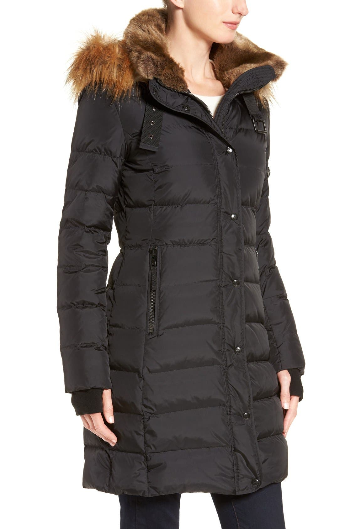 Alternate Image 3  - S13 'Uptown' Quilted Coat with Faux Fur Trim