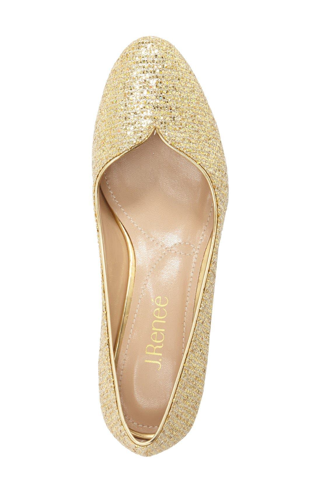 'Bambalina' Block Heel Glitter Pump,                             Alternate thumbnail 3, color,                             Gold Glitter Fabric