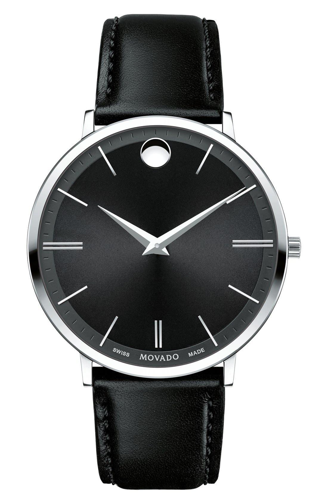'Ultra Slim' Leather Strap Watch, 40mm,                         Main,                         color, Black/ Black