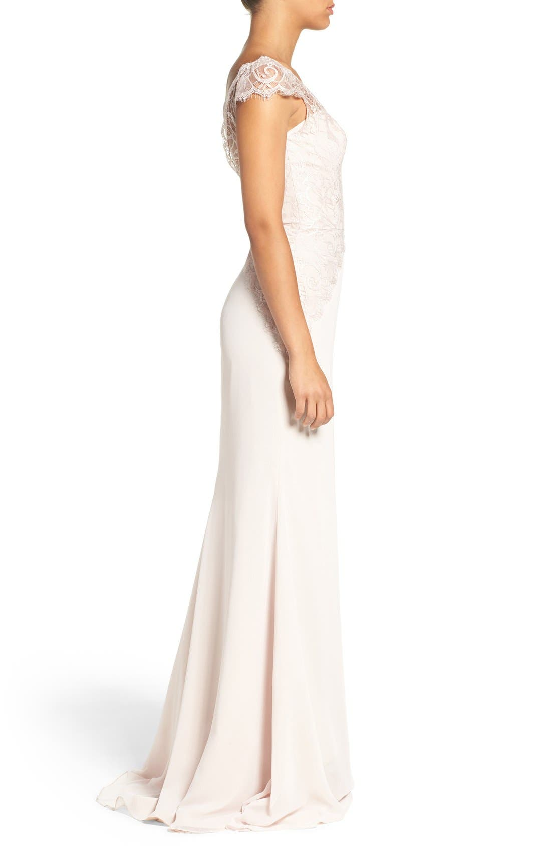 Cap Sleeve Lace & Chiffon Trumpet Gown,                             Alternate thumbnail 3, color,                             Rose/ Blush/ Cashmere