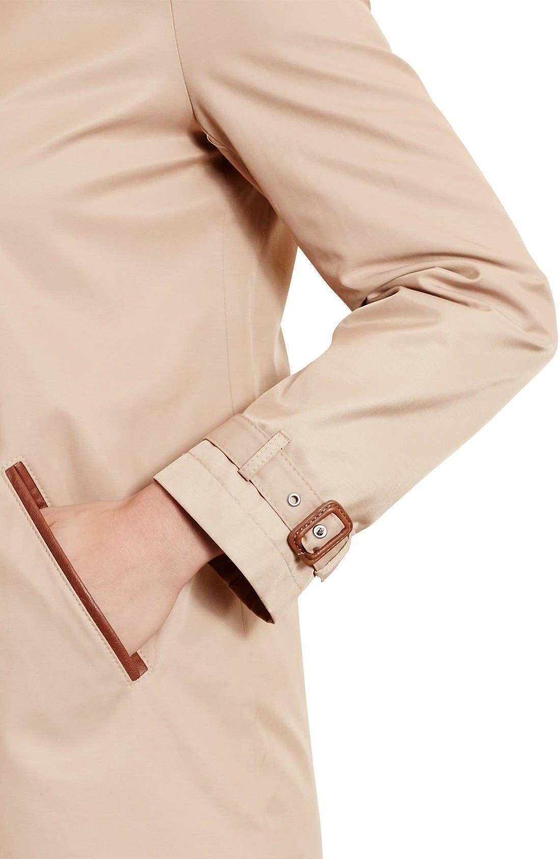 Faux Leather Trim Raincoat,                             Alternate thumbnail 4, color,                             Racing Khaki