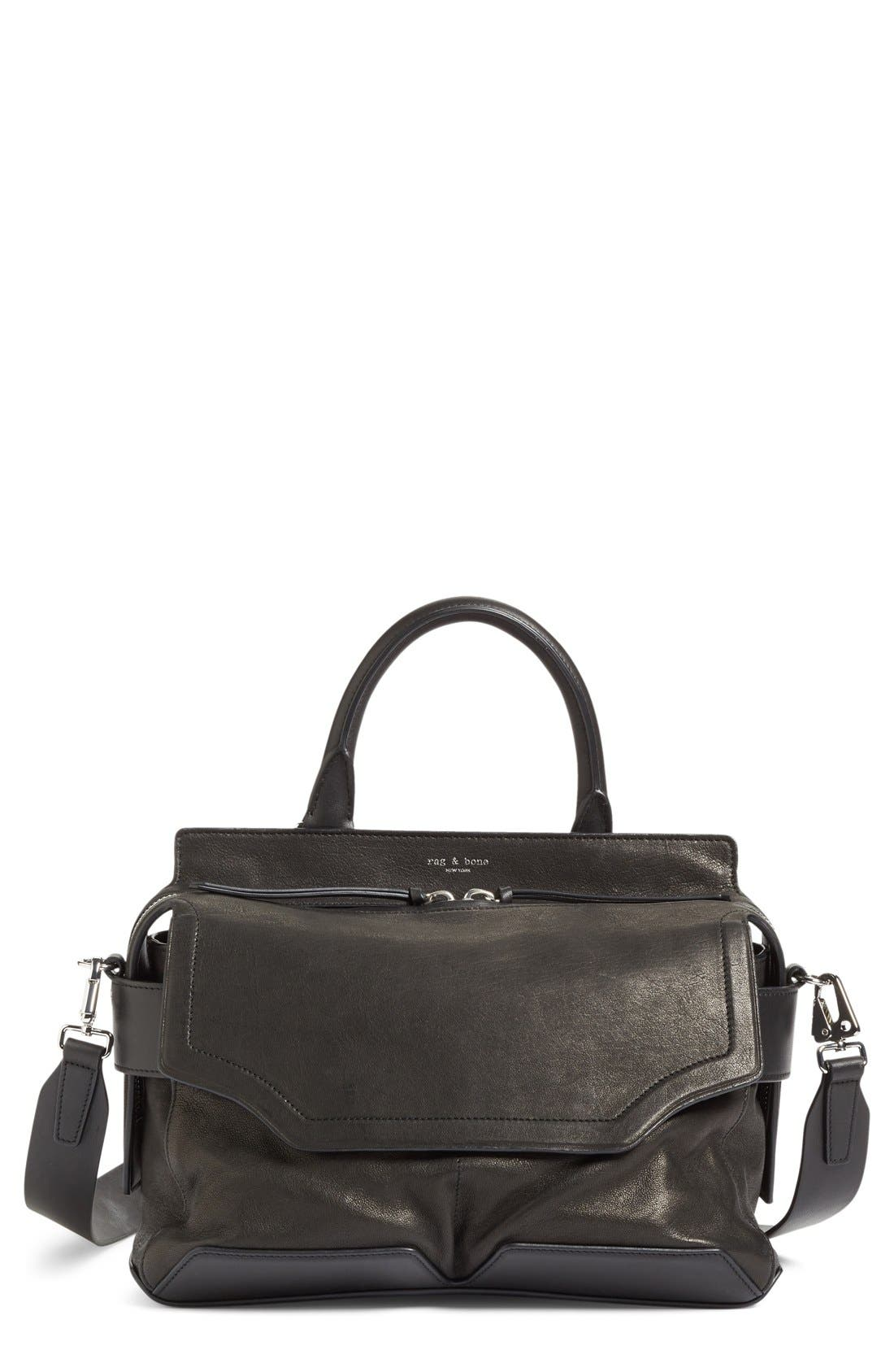 rag & bone 'Pilot' Lambskin Leather Satchel