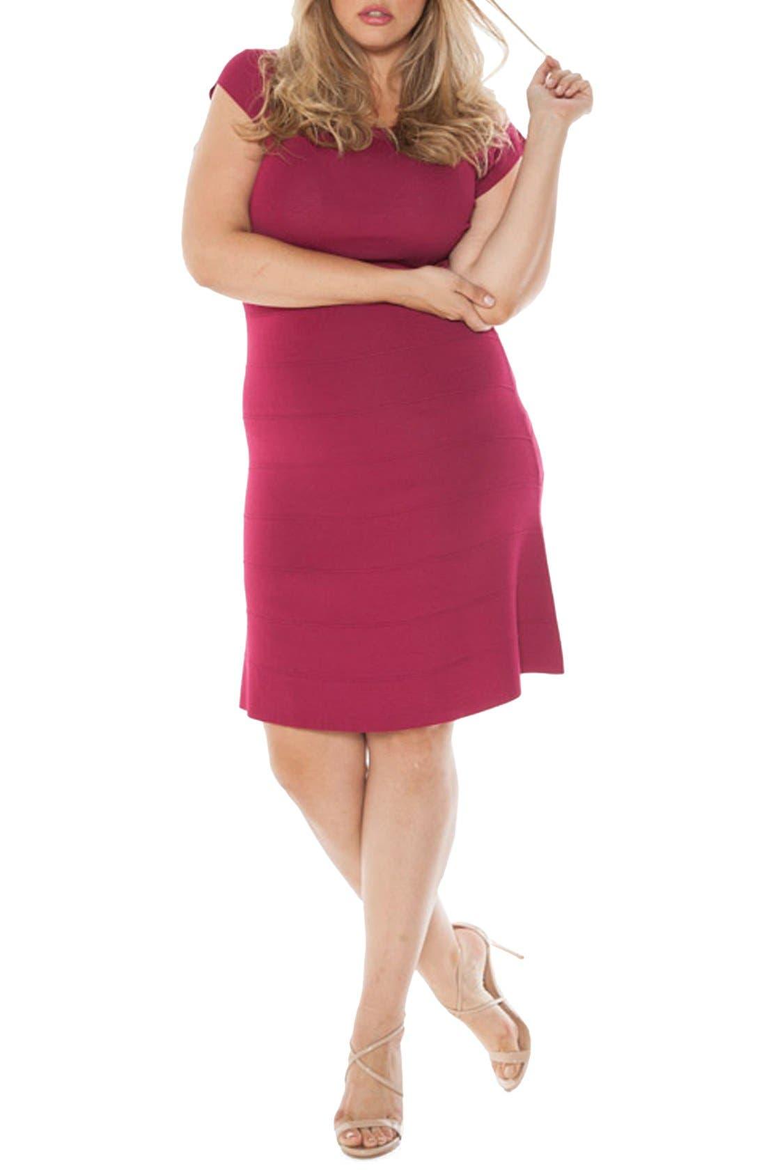 Alternate Image 1 Selected - SLINK Jeans Cap Sleeve Knit A-Line Dress (Plus Size)