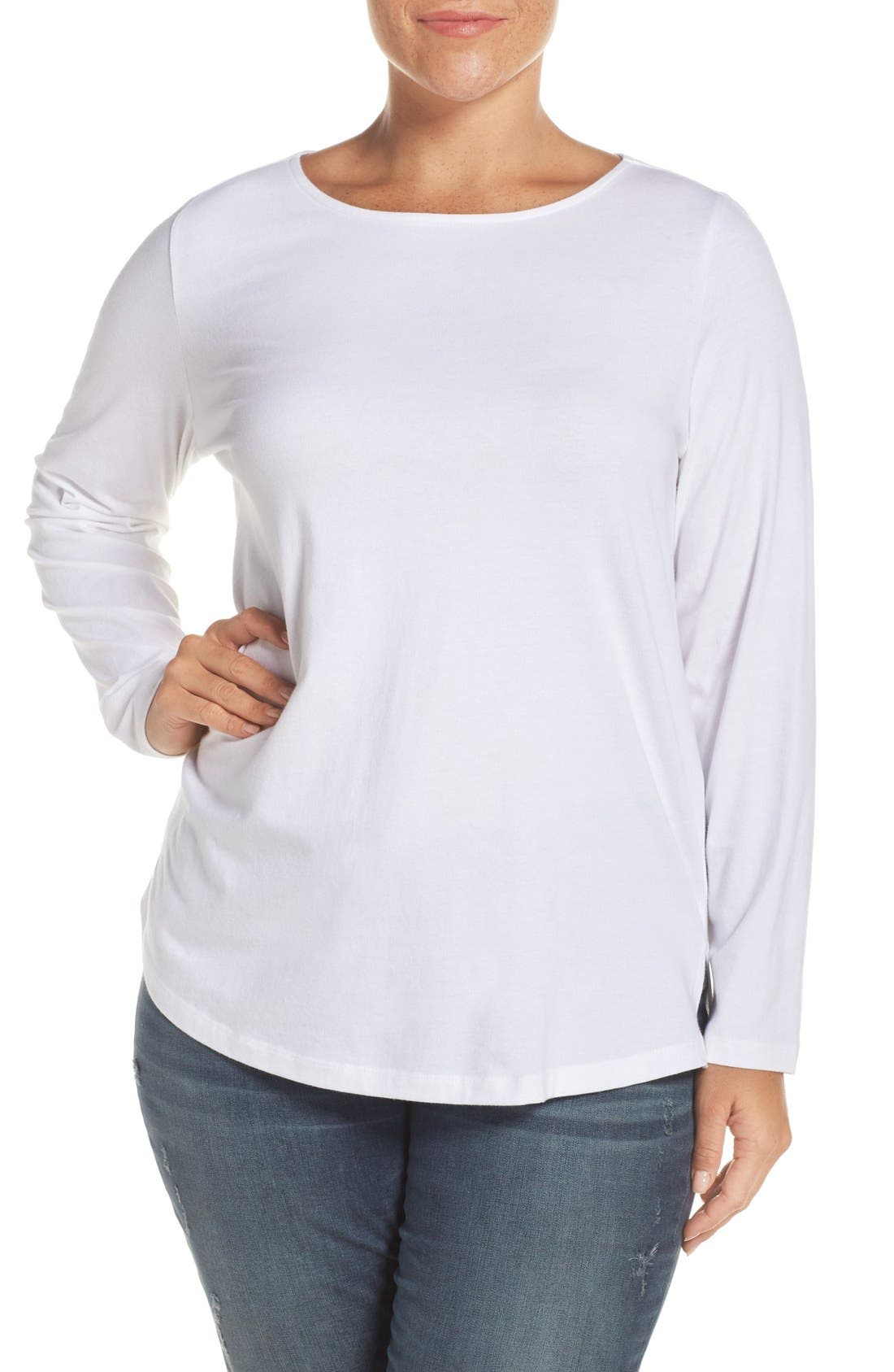 Sejour Ballet Neck Long Sleeve Tee (Plus Size)