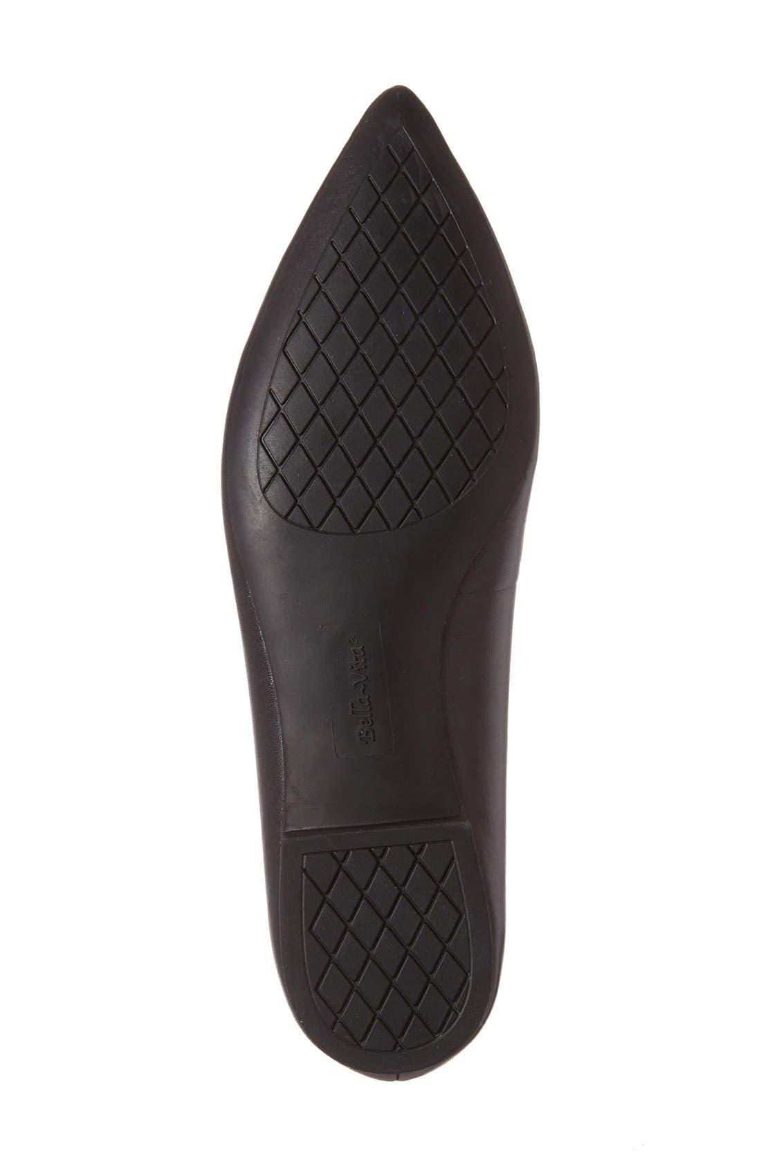 'Vivien' Pointy Toe Flat,                             Alternate thumbnail 4, color,                             Black Leather