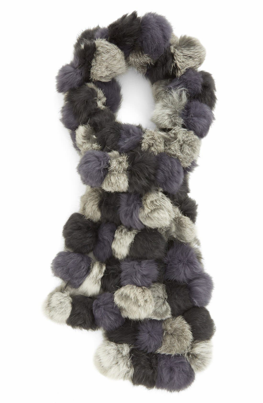 Genuine Rabbit Fur Scarf,                         Main,                         color, Black/Grey