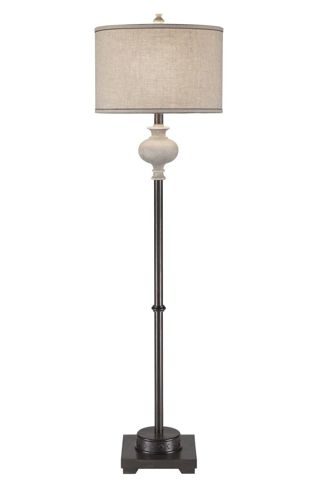 JAlexander Whitewash & Bronze Floor Lamp,                         Main,                         color, White