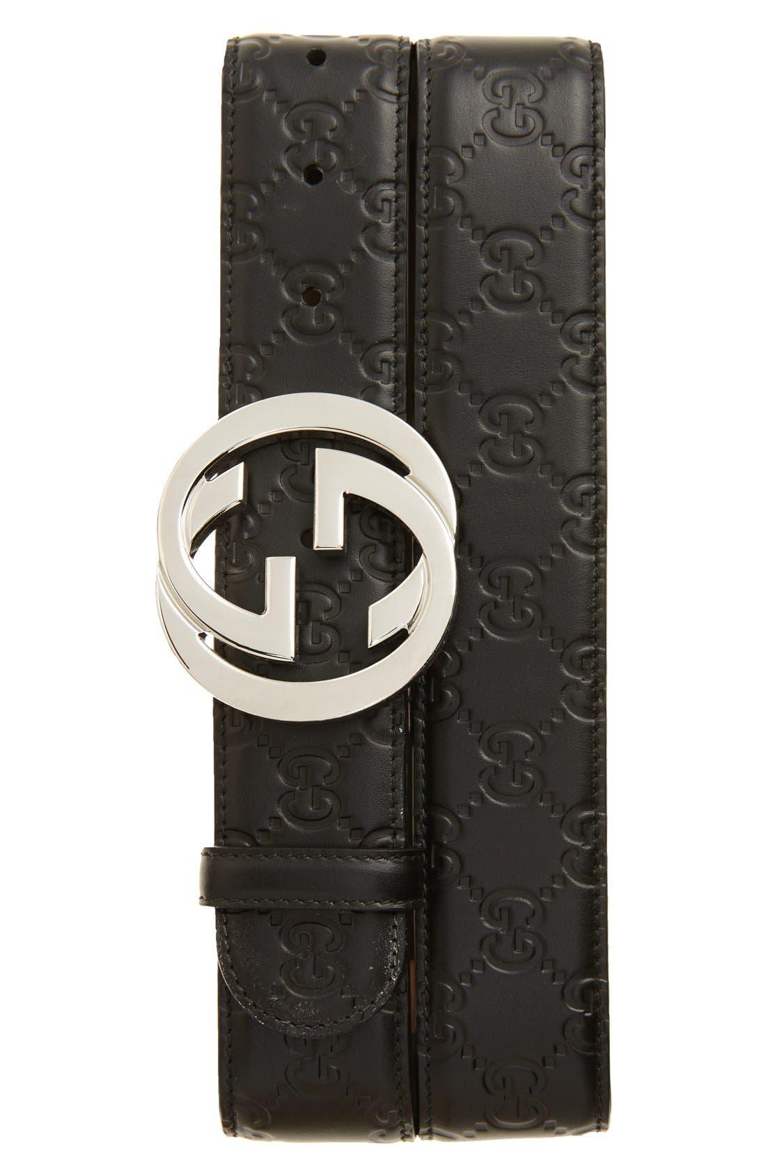Logo Embossed Leather Belt,                         Main,                         color, Black