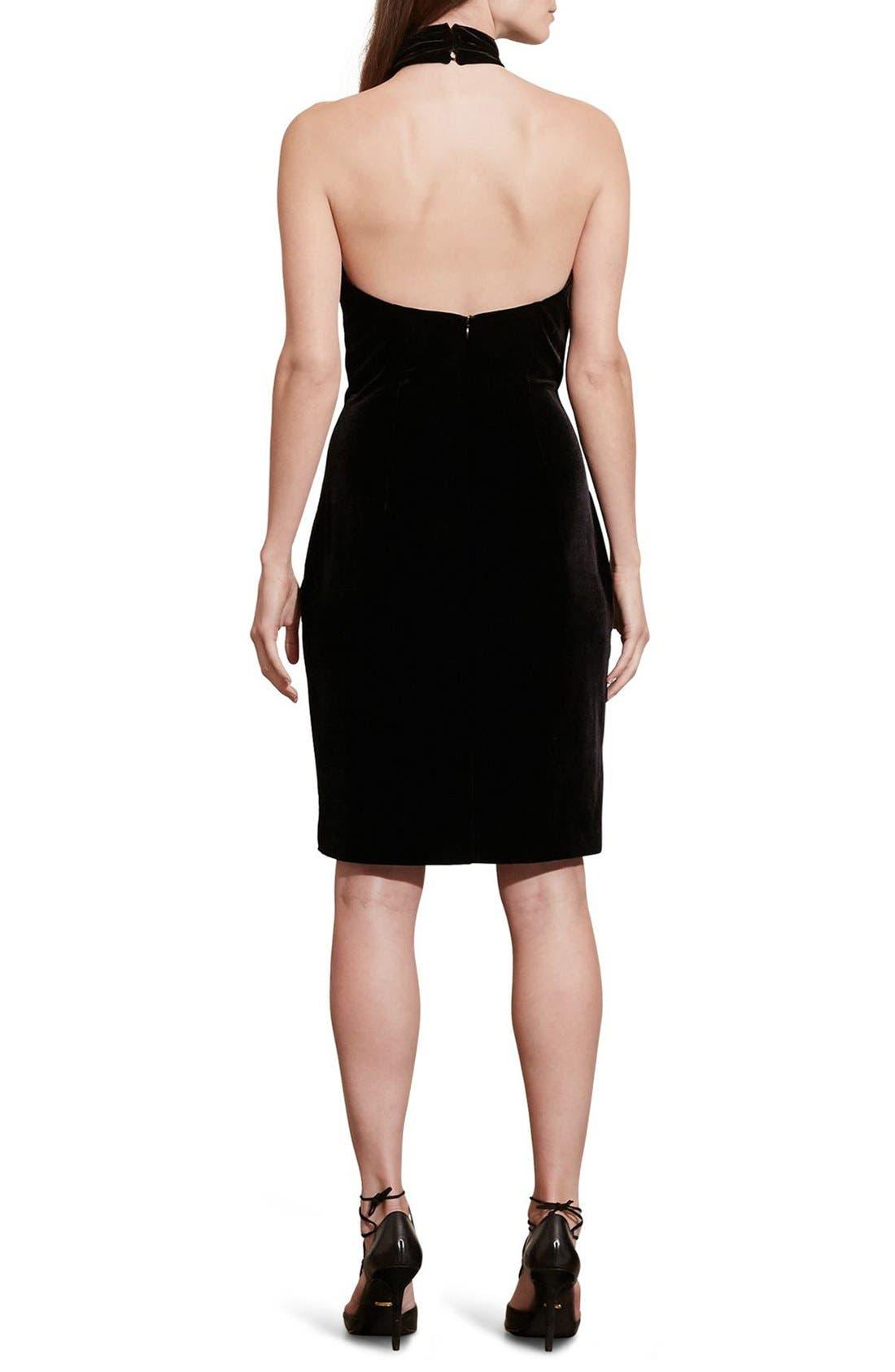 Alternate Image 2  - Lauren Ralph Lauren Velvet Halter Dress