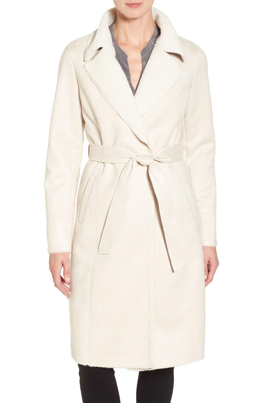 Eliza J Faux Shearling Wrap Trench Coat