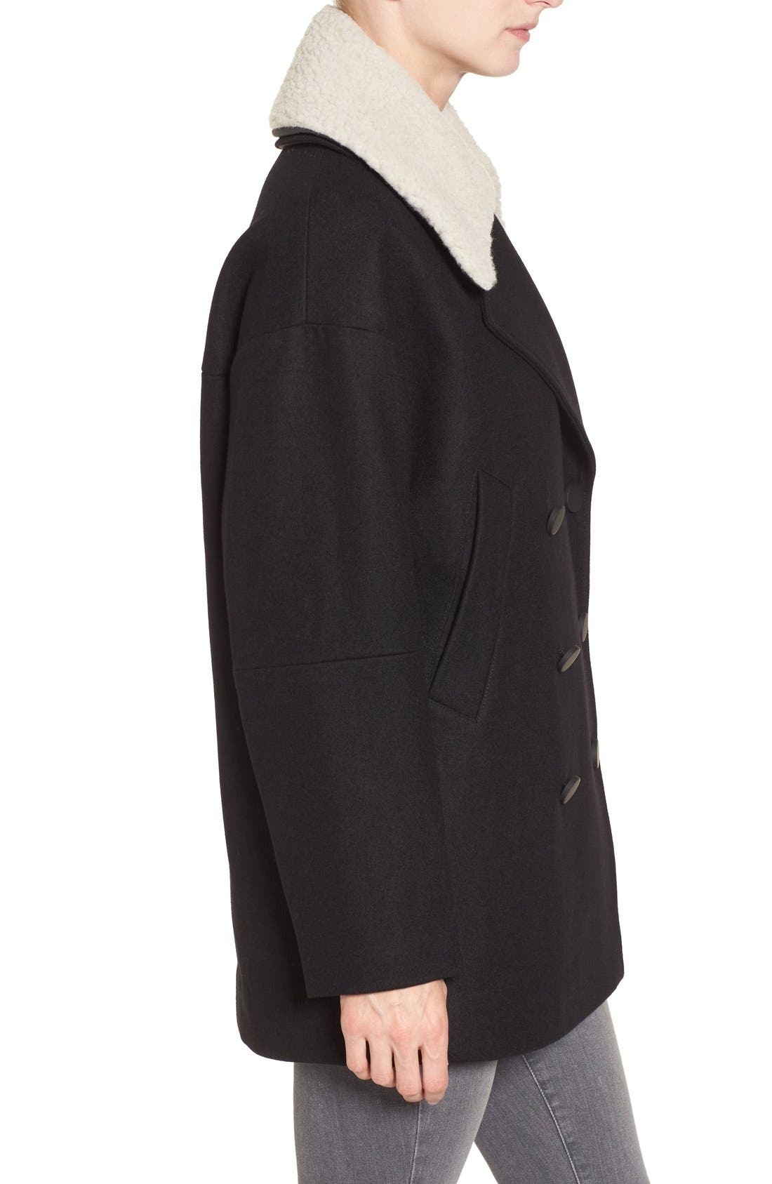 Alternate Image 3  - Andrew Marc Cocoon Coat with Faux Shearling Collar