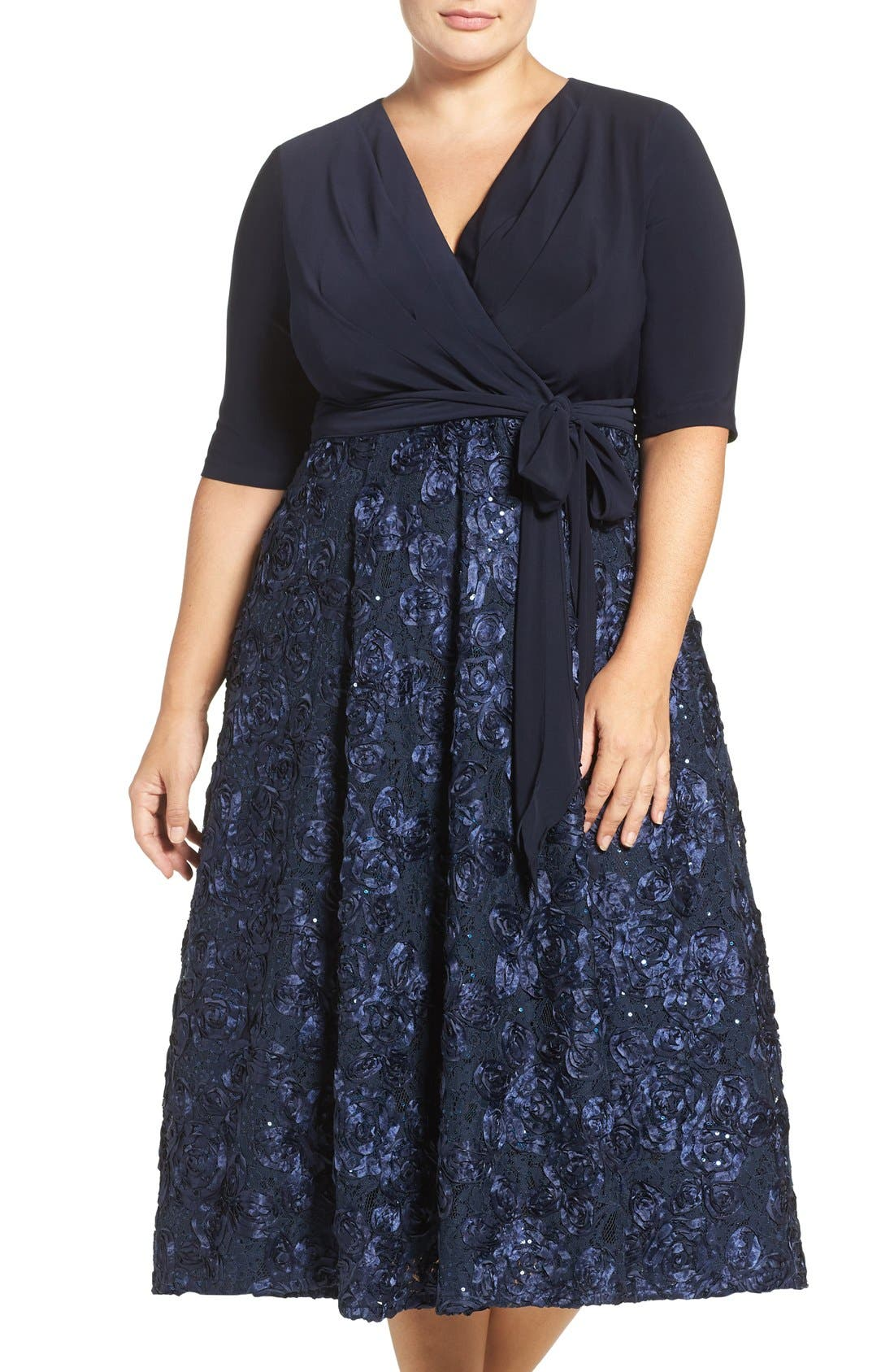 Tea Length Jersey & Rosette Lace Dress,                             Main thumbnail 1, color,                             Navy