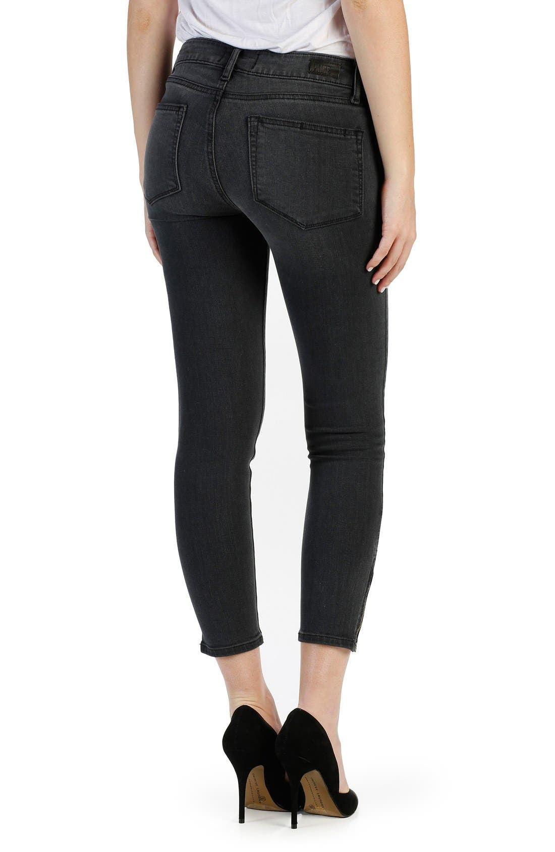'Transcend - Jane' Zip Detail Crop Skinny Jeans,                             Alternate thumbnail 2, color,                             Smoke Grey
