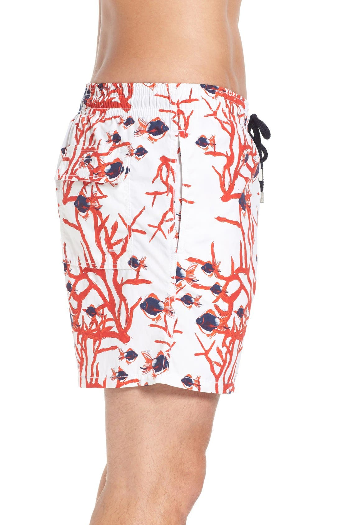 Coral & Fish Print Swim Trunks,                             Alternate thumbnail 3, color,                             White