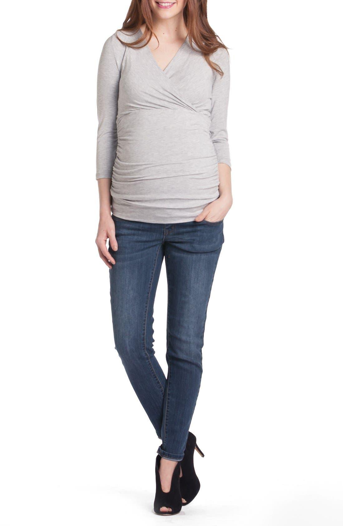 Michelle Surplice Maternity/Nursing Top,                         Main,                         color, Heather Grey
