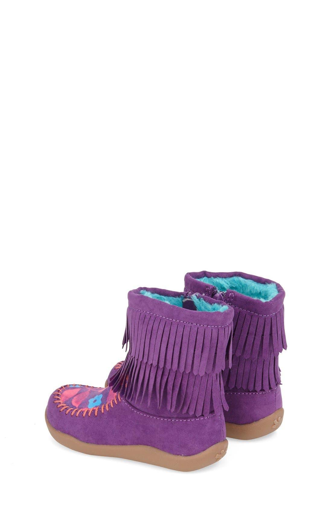 Fringe Bootie,                             Alternate thumbnail 2, color,                             Purple Faux Leather