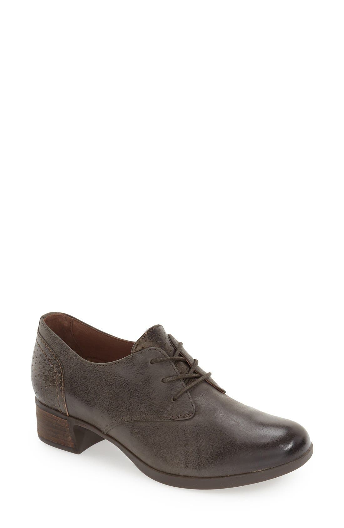 'Louise' Round Toe Derby,                         Main,                         color, Stone Burnished Leather