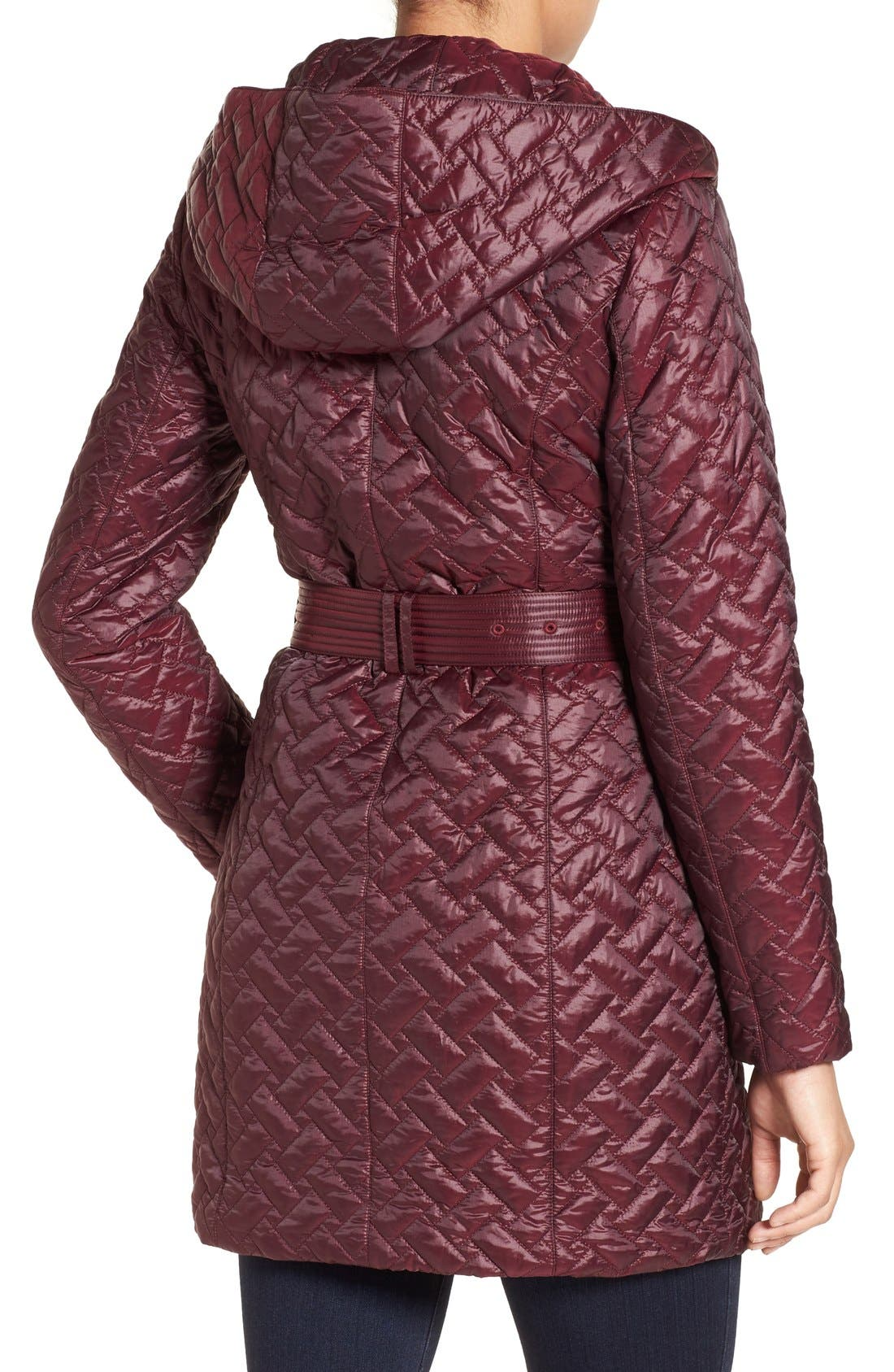 'Thermore' Water Repellent Quilted Coat,                             Alternate thumbnail 2, color,                             Cabernet