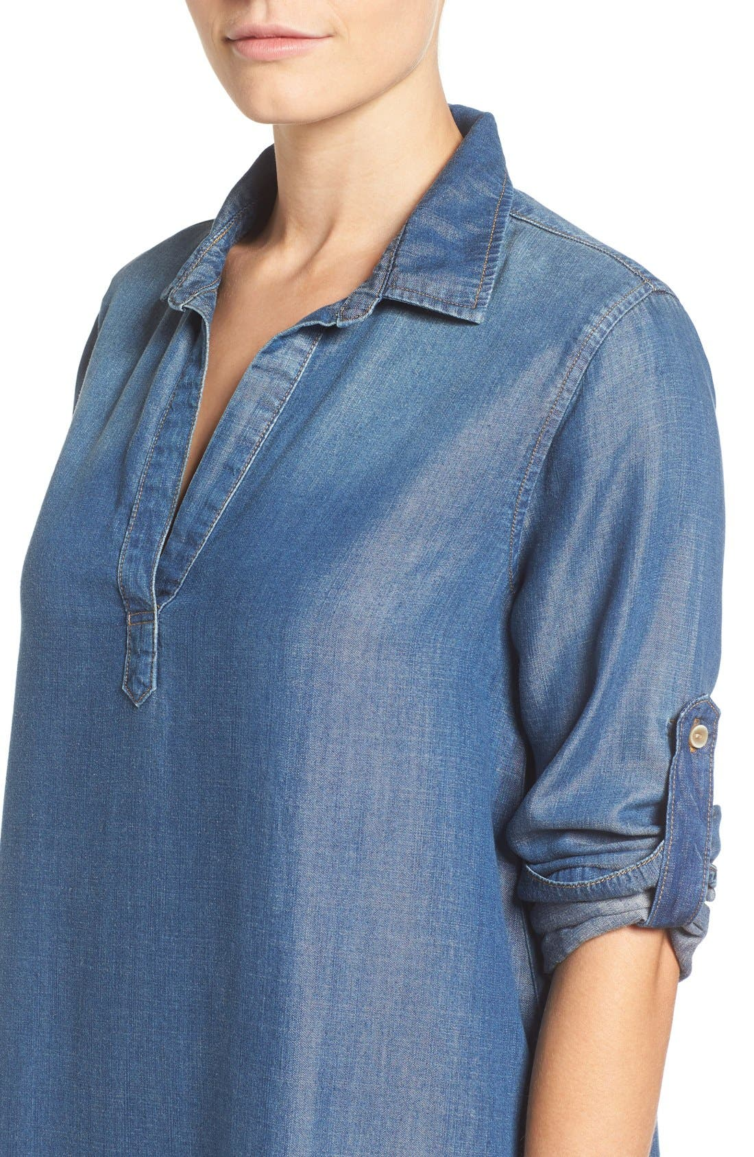 Alternate Image 4  - Side Stitch A-Line Denim Shirtdress