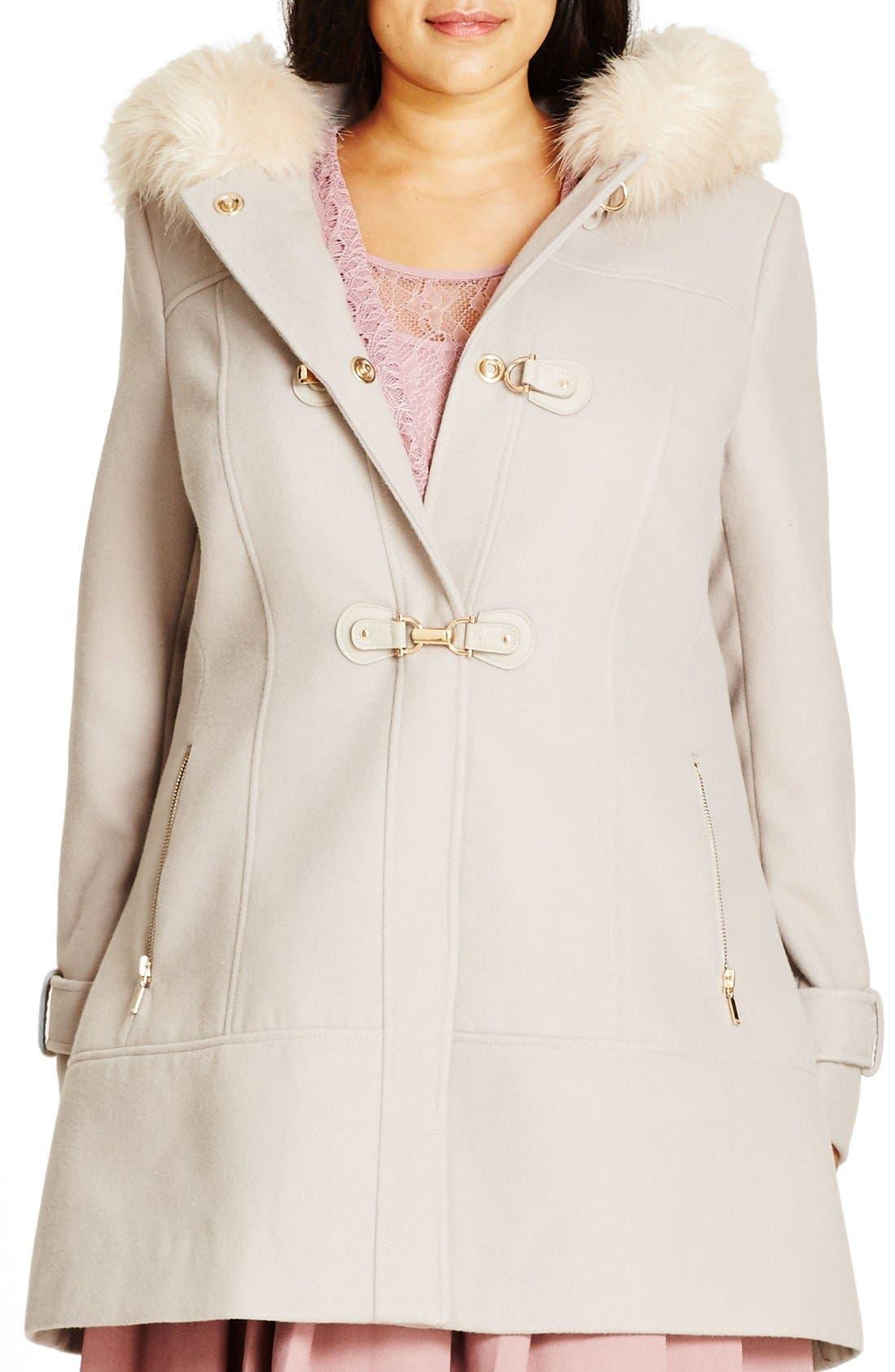 Main Image - City Chic 'Winter Warm' Faux Fur Trim Duffle Coat (Plus Size)