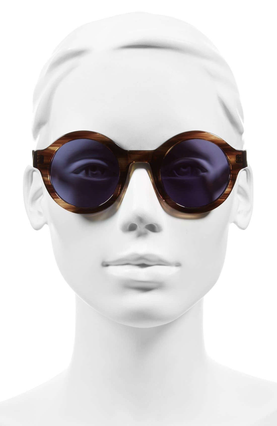 'Luna' 47mm Round Sunglasses,                             Alternate thumbnail 2, color,                             Brown Feather