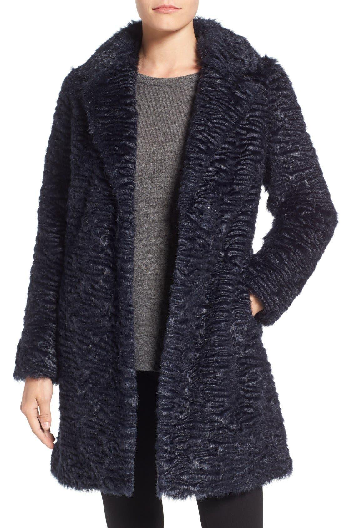 Alternate Image 1 Selected - Eliza J Faux Persian Lamb Coat (Regular & Petite)