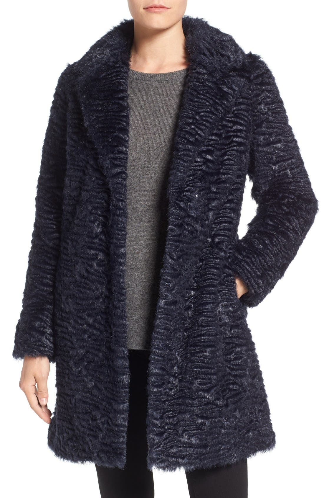Faux Persian Lamb Coat,                         Main,                         color, Midnight