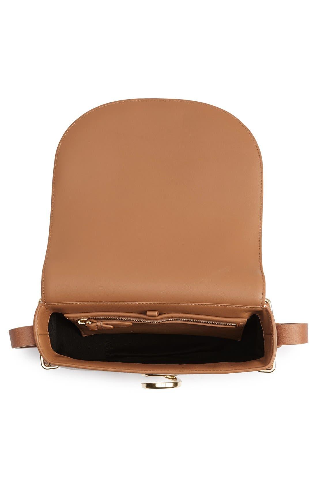 Alix Leather Saddle Bag,                             Alternate thumbnail 4, color,                             Camel