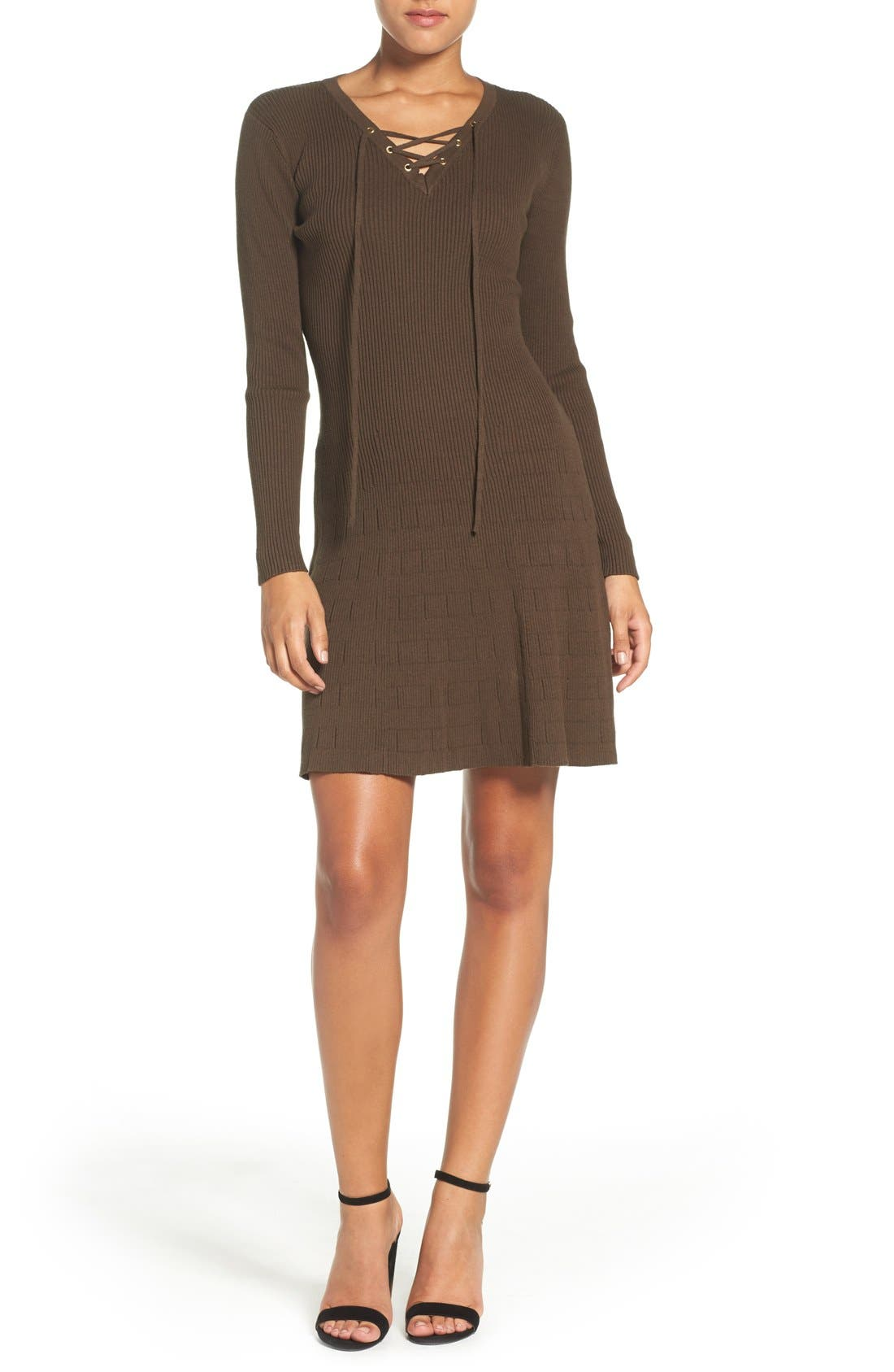 Lace-Up Ribbed A-Line Dress,                             Alternate thumbnail 4, color,                             Olive