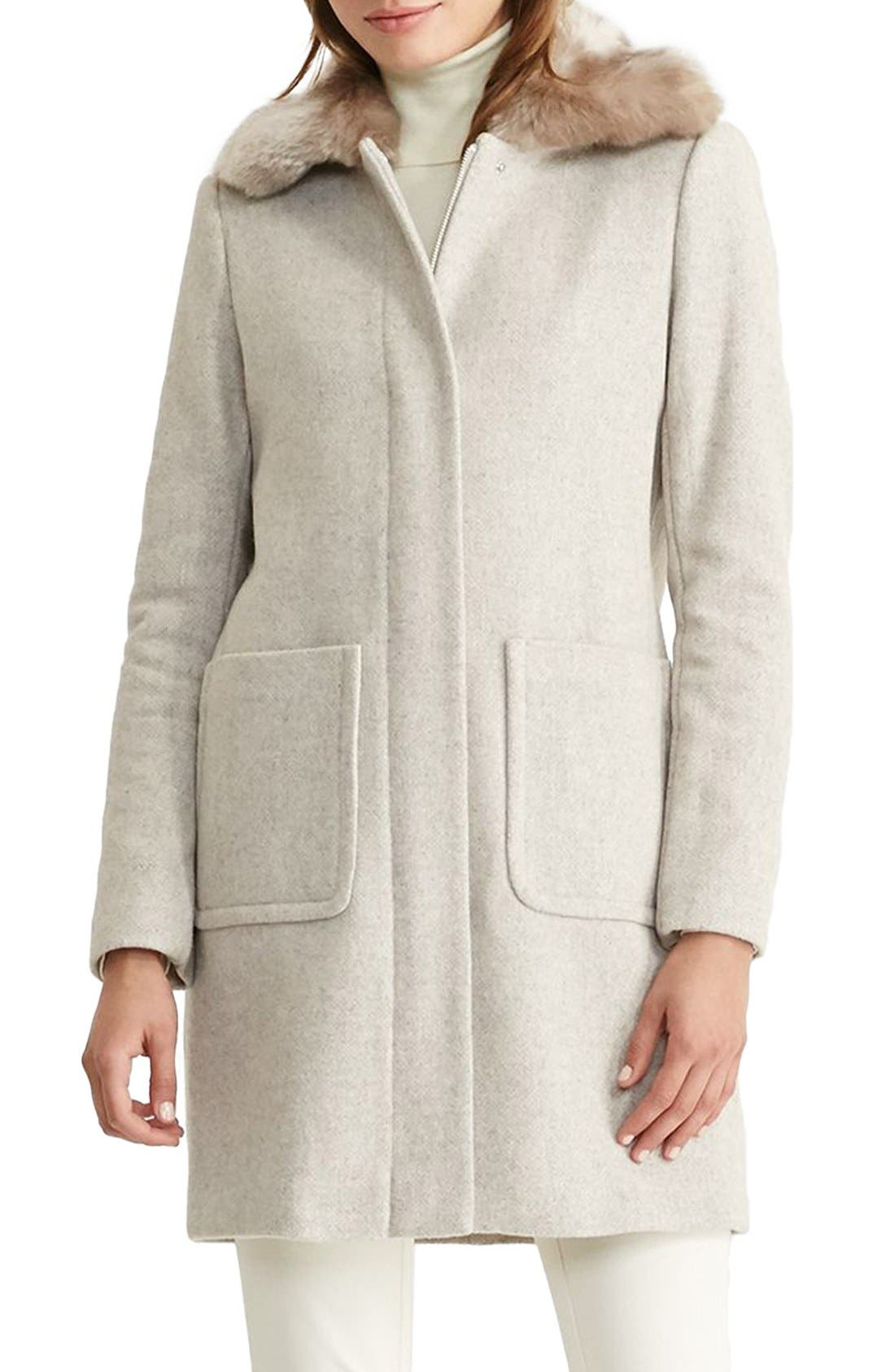 Main Image - Lauren Ralph Lauren Wool Blend Coat with Faux Fur Collar (Regular & Petite)
