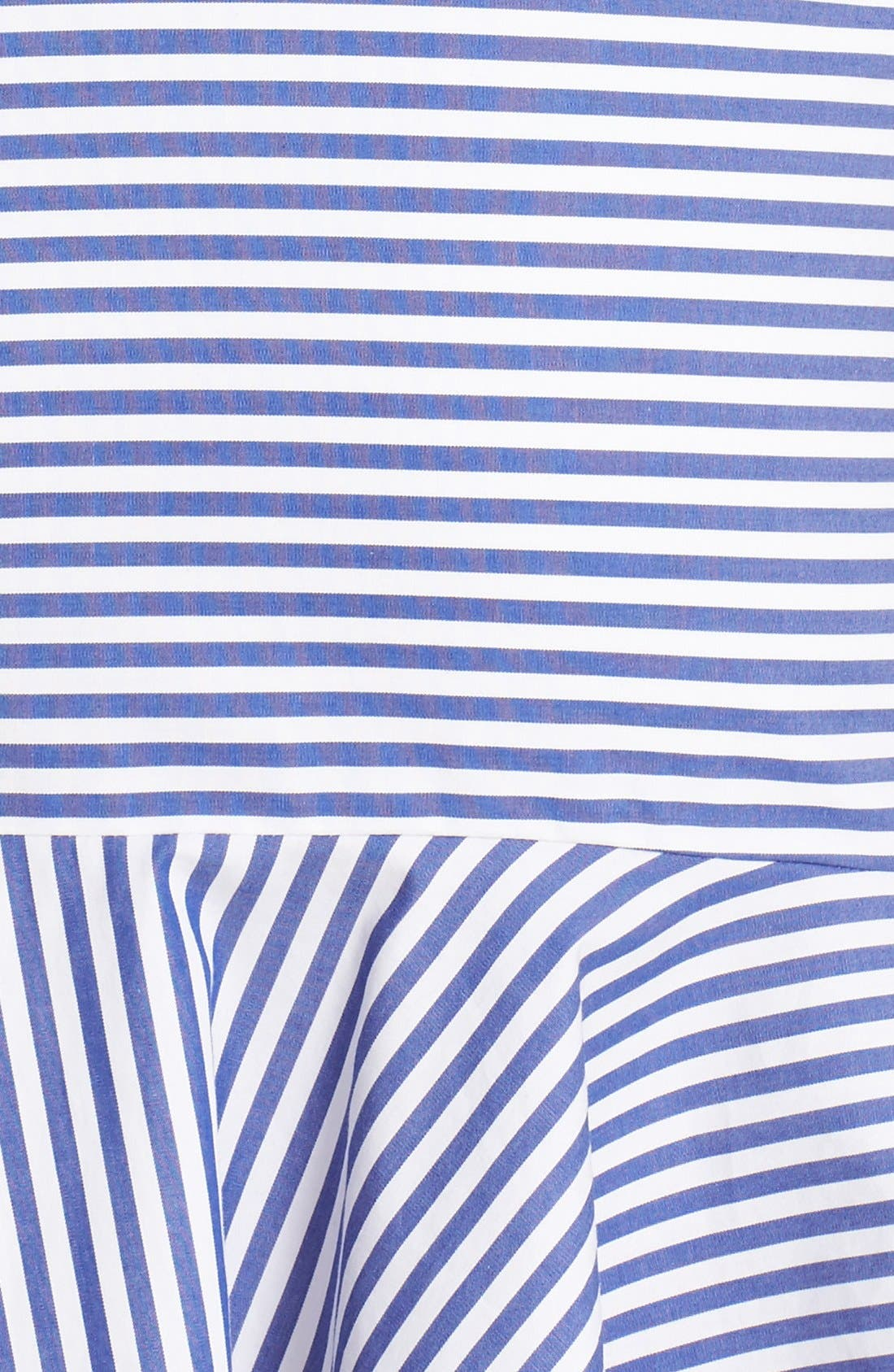 Bell Stripe Ruched Shirtdress,                             Alternate thumbnail 5, color,                             Blue/ White