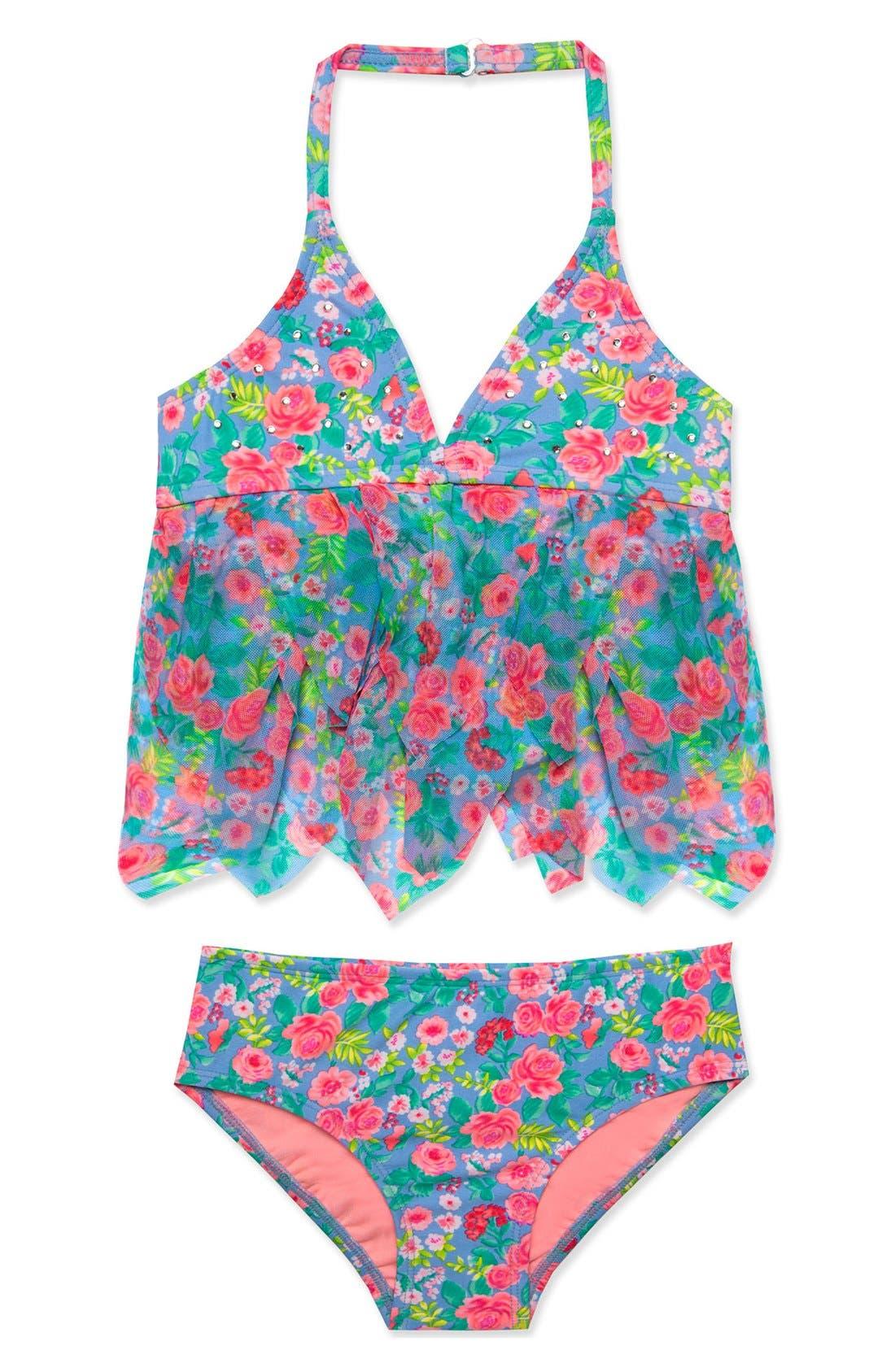 'Rose Tango' Two-Piece Tankini Swimsuit,                             Main thumbnail 1, color,                             Blue