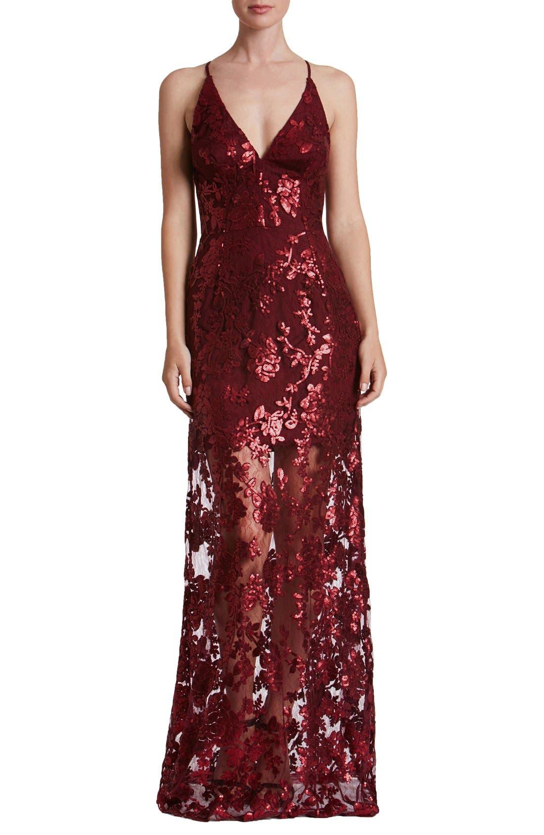 'Vivienne' Sequin Lace Gown,                             Main thumbnail 1, color,                             Berry