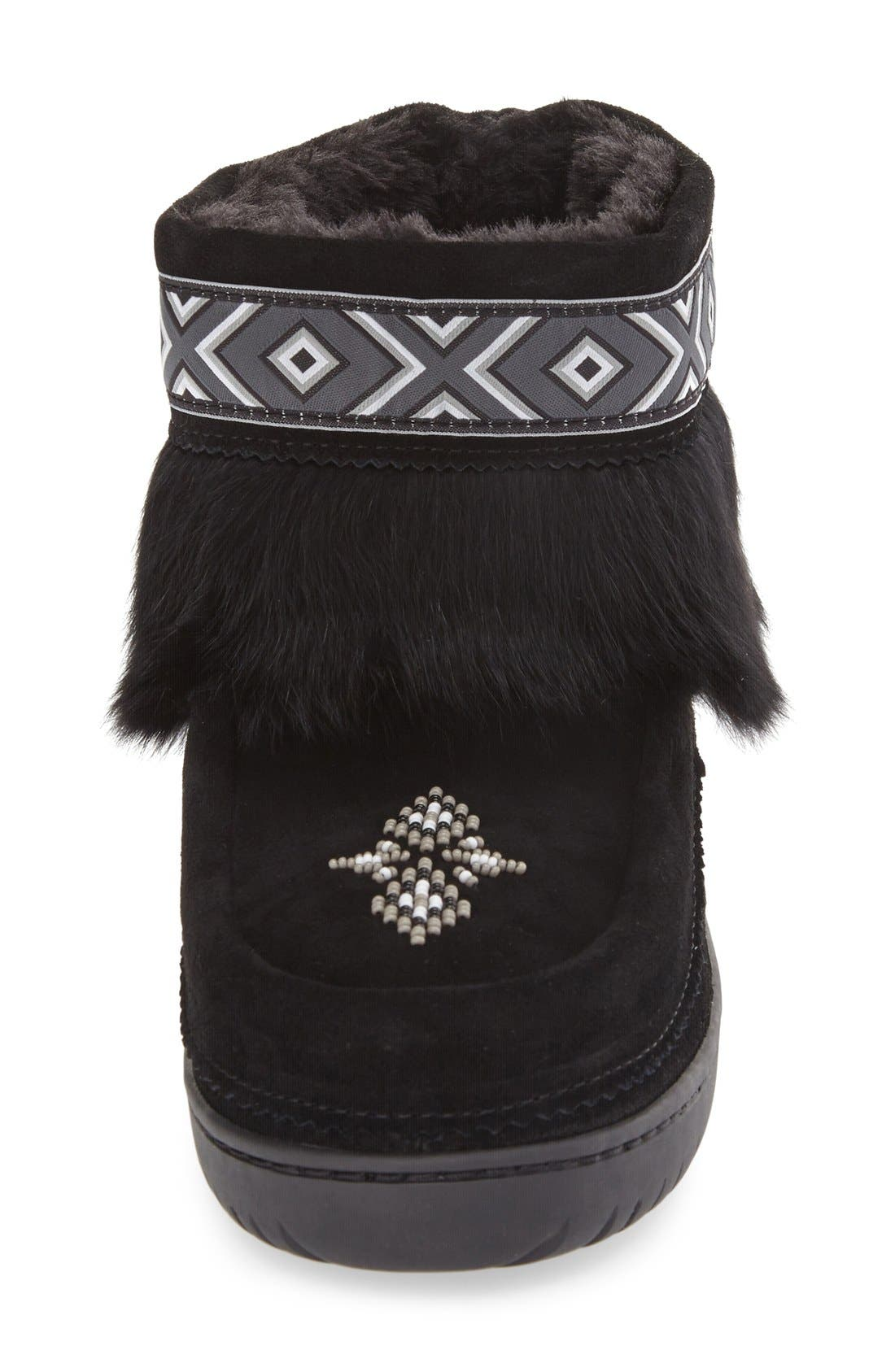 'Keewatin' Genuine Shearling and Rabbit Fur Boot,                             Alternate thumbnail 4, color,                             Black Rabbit Fur Suede