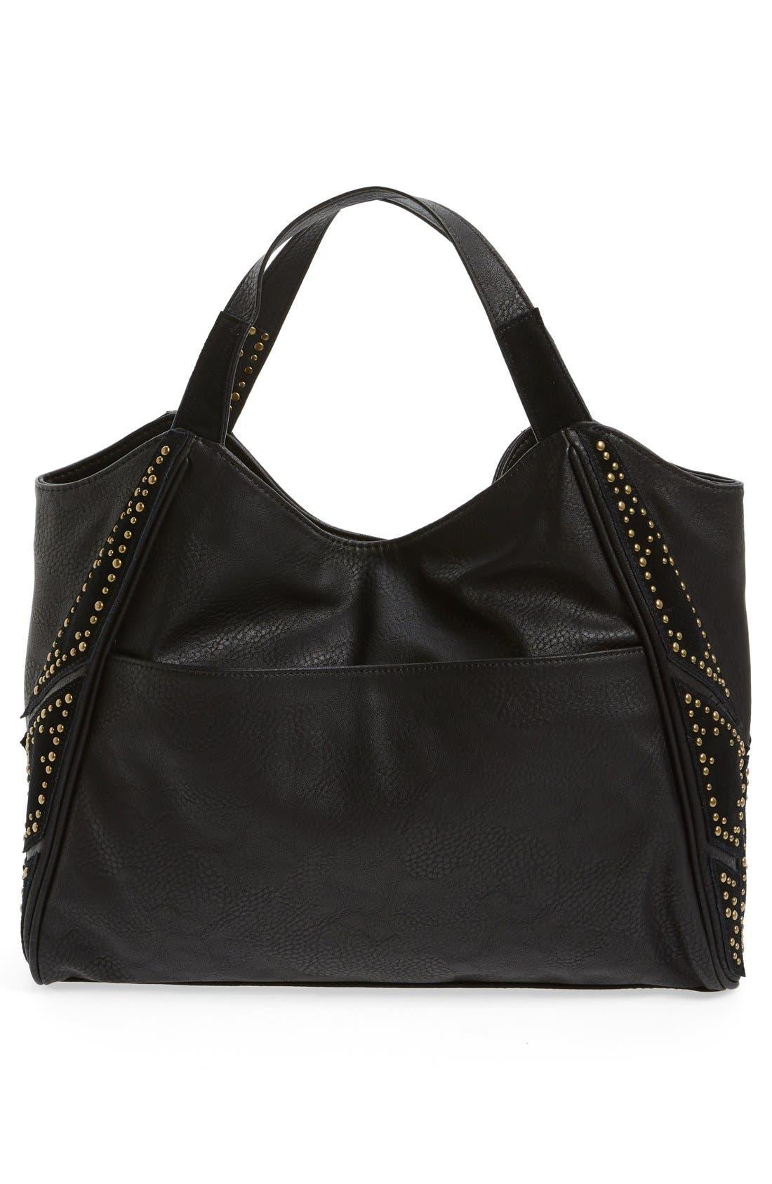 'Jlora' Studded Hobo Bag,                             Alternate thumbnail 2, color,                             Black