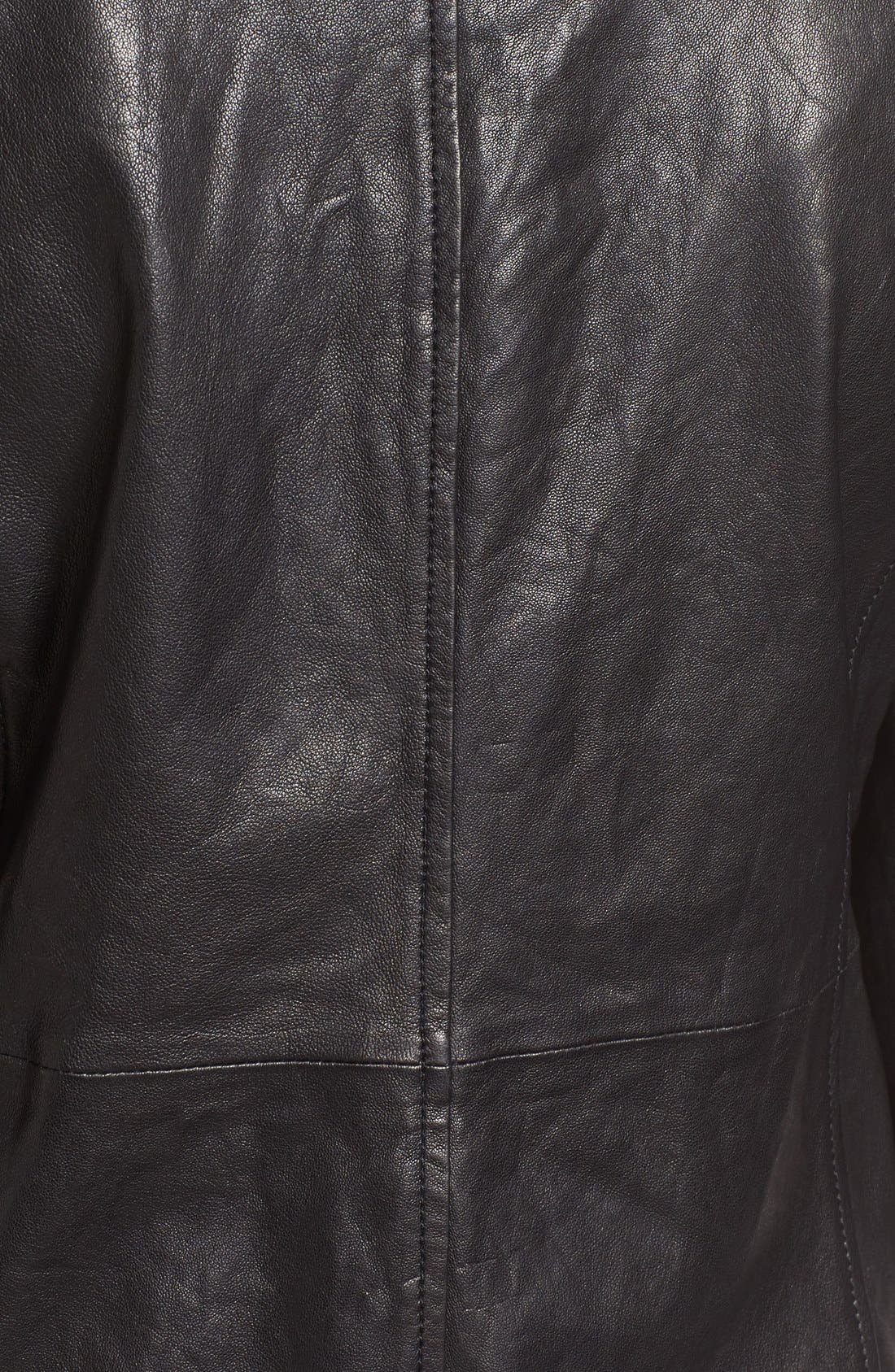 Rumpled Luxe Leather Stand Collar Jacket,                             Alternate thumbnail 5, color,                             Black