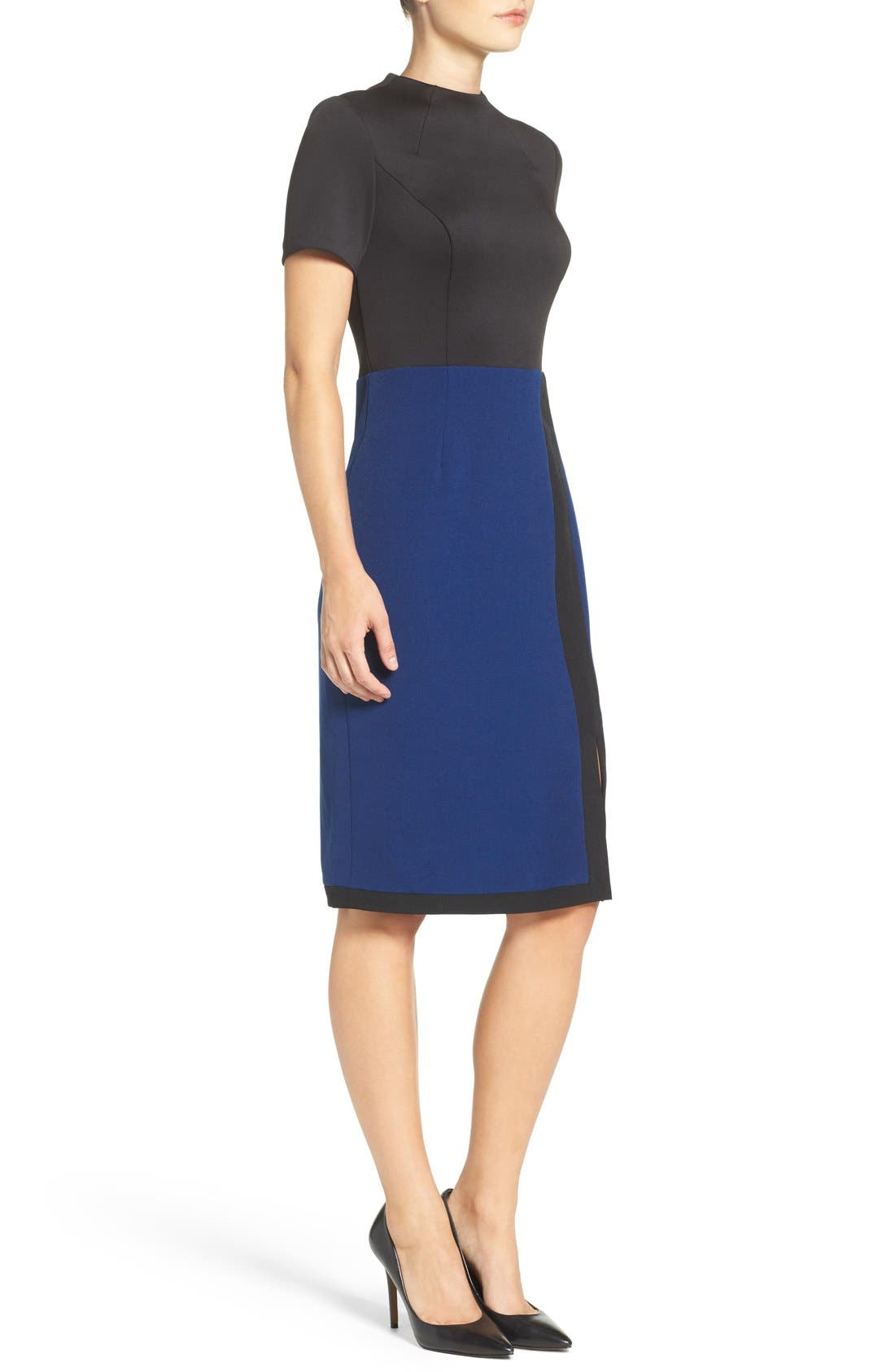 Scuba & Crepe Sheath Dress,                             Alternate thumbnail 3, color,                             Black/ Navy