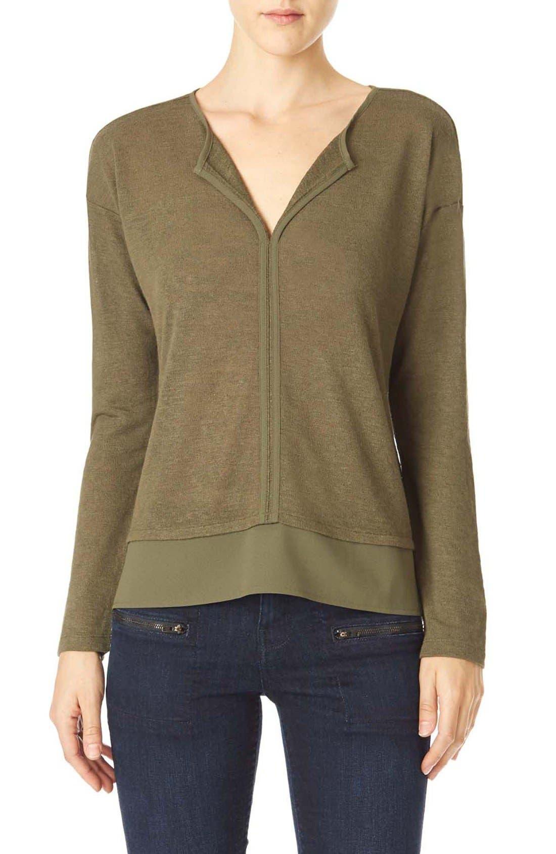 'Hanna' Split Neck Knit Top,                         Main,                         color, Fatigue