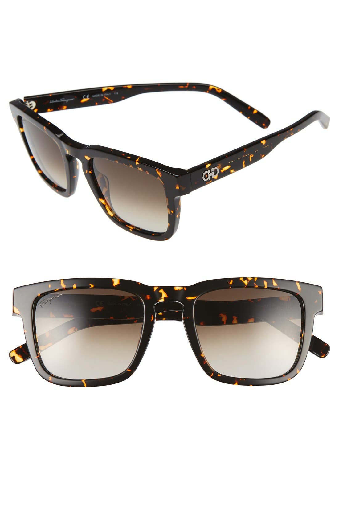 51mm Square Sunglasses,                             Main thumbnail 1, color,                             Vintage Tortoise