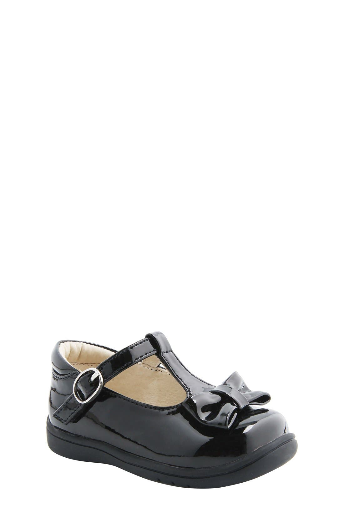 Nina 'Cruz' T-Strap Flat,                             Main thumbnail 1, color,                             Black Faux Patent
