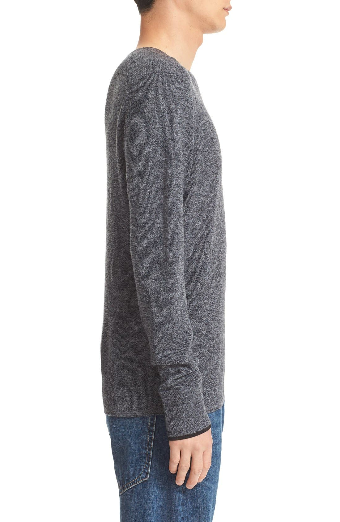 'Giles' Lightweight Merino Wool Pullover,                             Alternate thumbnail 3, color,                             Charcoal