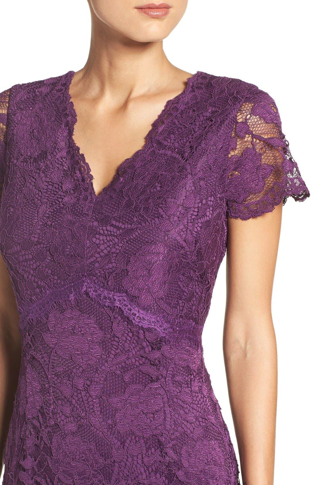 Lace Gown,                             Alternate thumbnail 5, color,                             Plum