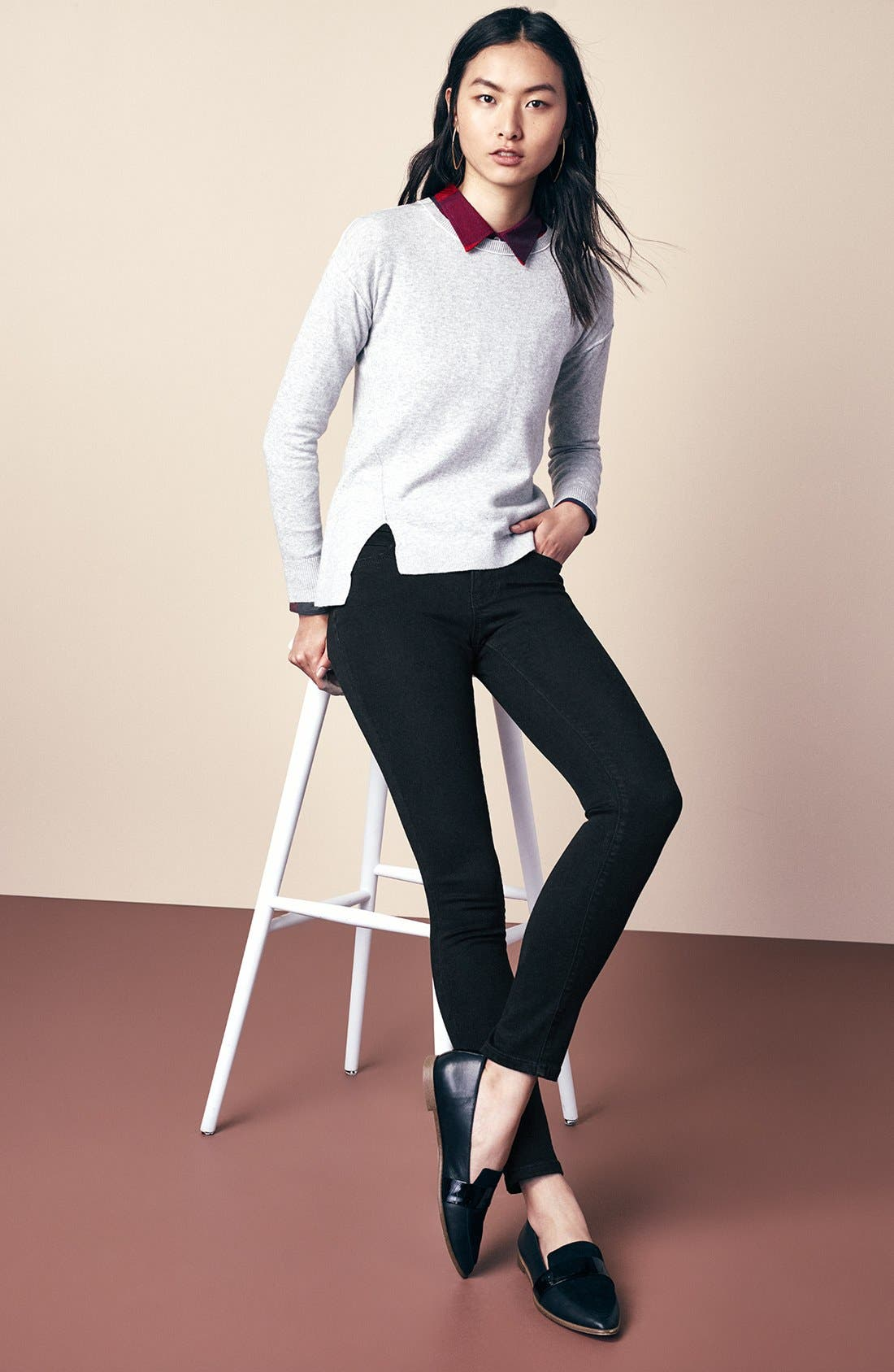 Caslon® Sweater & Skinny Jeans Outfit with Accessories